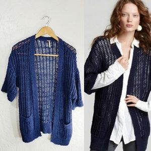 Free People Blue Chunky Open Knit Cardigan
